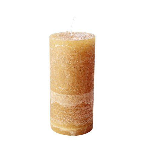 Stumpenkerze Okra Hoehe 15 cm
