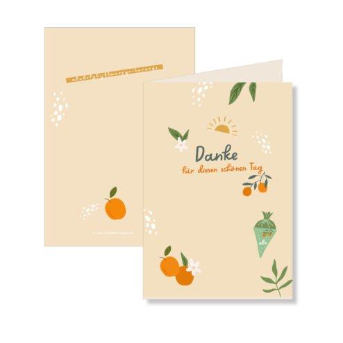 Danksagungskarte Einschulung freche Fruechtchen