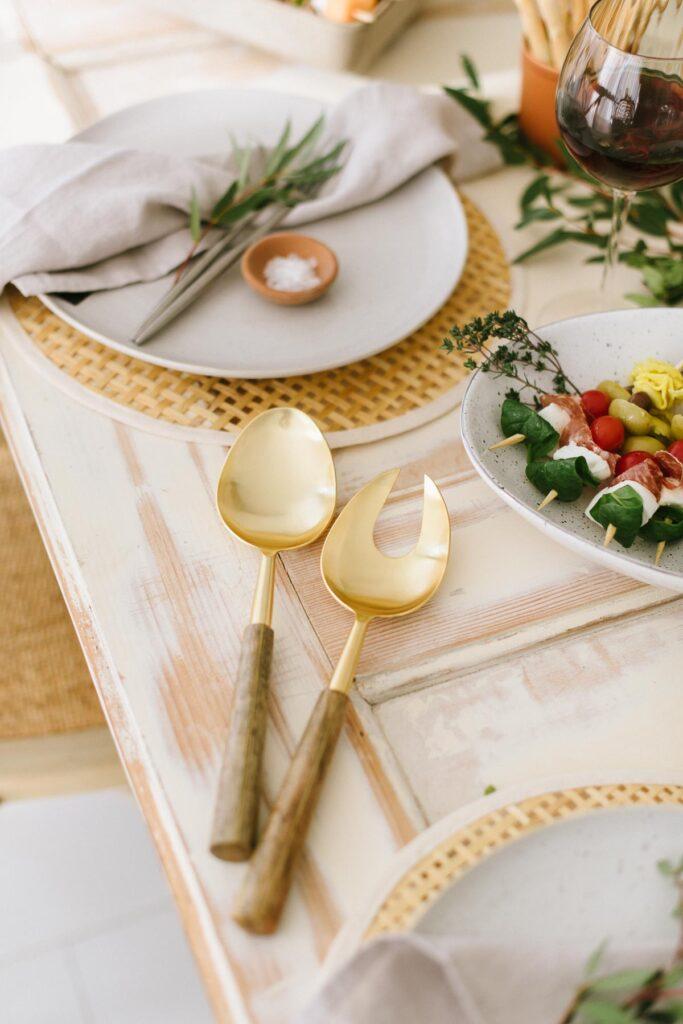 Salatbesteck Gold aus Stahl