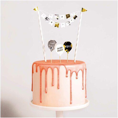 Mini Cake Topper Happy Birthday Classic