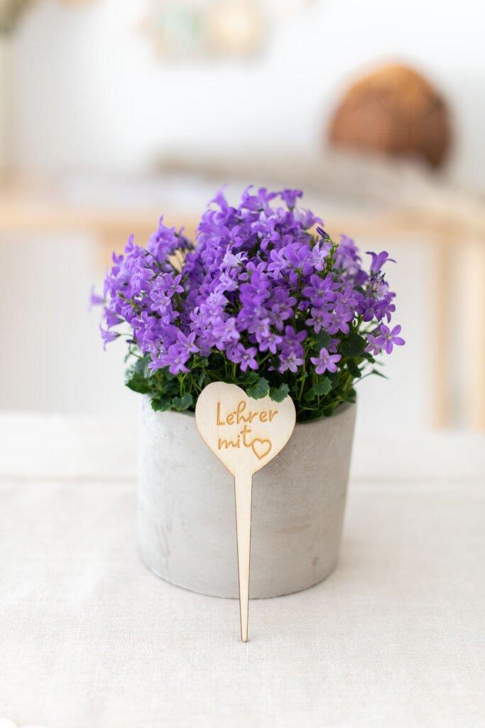 Blumenstecker Lehrer mit Herz