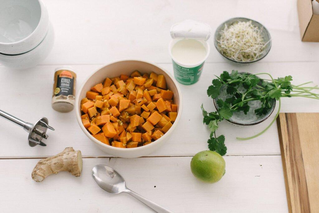 Zutaten für den Brotaufstrich mit Süßkartoffeln