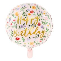 Folienballon Happy Birthday Blumen