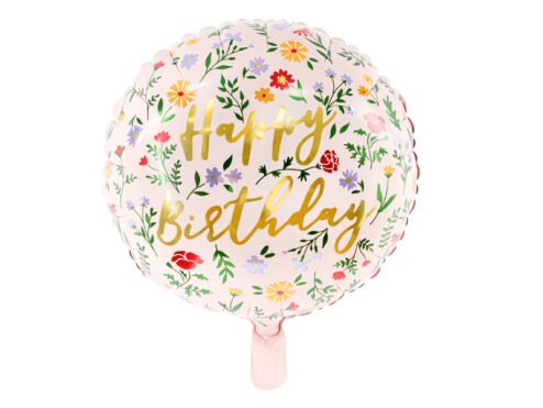 Folienballon Happy Birthday Blumen