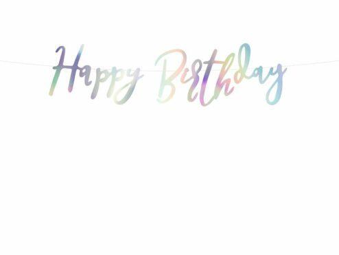 Girlande Happy Birthday irisierend