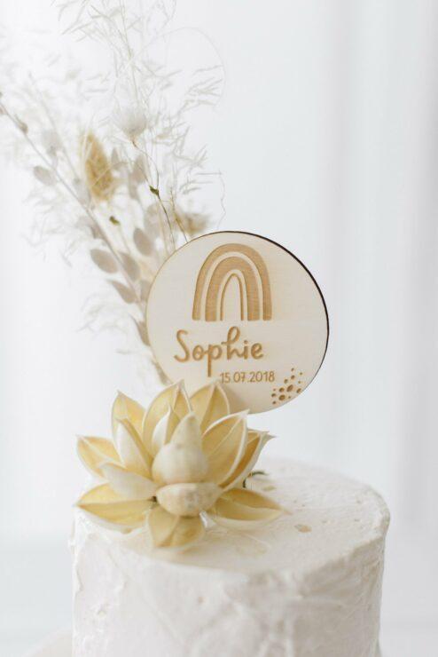 Cake Topper 'Sophie' Name + Geburtsdatum aus Holz