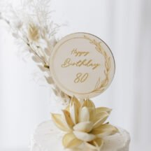 Cake Topper 'Lilie' Happy Birthday + Zahl aus Holz