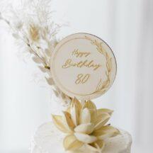 Cake Topper 'Lilie' Happy Birthday + Zahl aus Holz