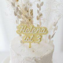 Cake Topper 'Helena' Name + Zahl, zweifarbig