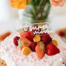 Cake Topper weiß durchsichtig Super Mom