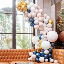 Ballongirlande Marble - Grey - Gold und Chrome