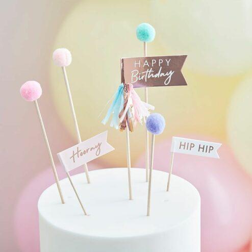 Cake Topper Happy Birthday Pom Poms