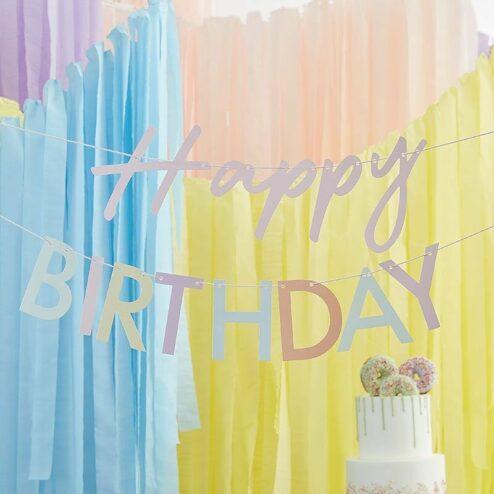 Girlande Happy Birthday pastell