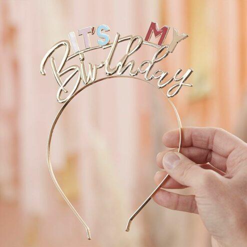 Haarreif 'It's my Birthday' gold und pastell