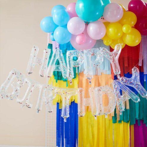 Happy Birthday Ballon Set durchsichtig mit Konfetti bunt