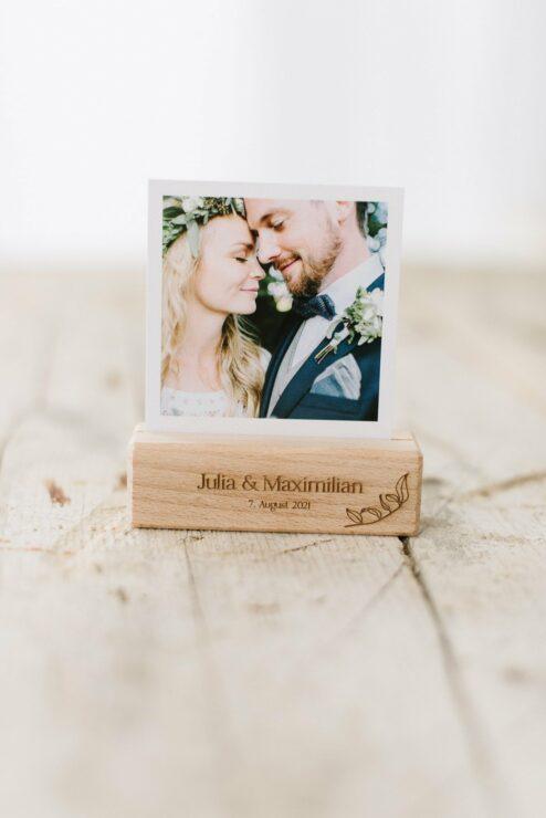 Kartenhalter Fotohalter Holz Gravur Hochzeit