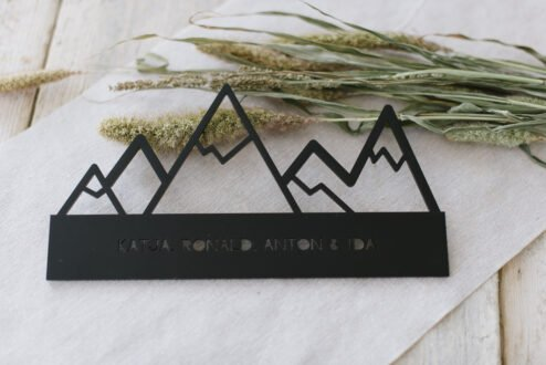 Namensschild bergwelt personalisiert schwarz