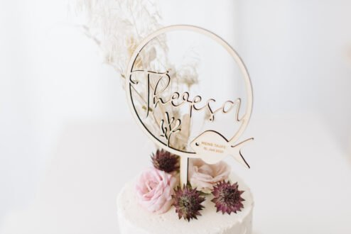 Cake Topper Holz Taufe Fisch