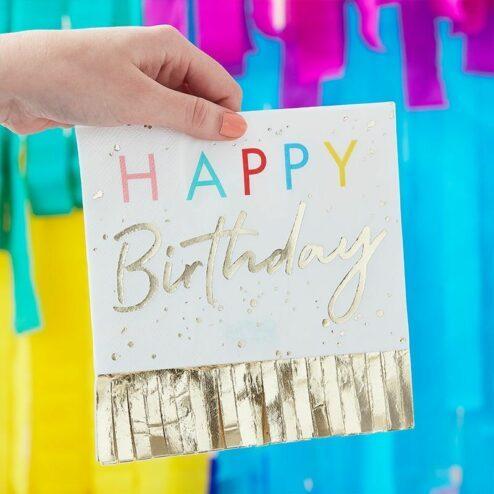 Papierserviette mit goldenen Fransen Happy Birthday