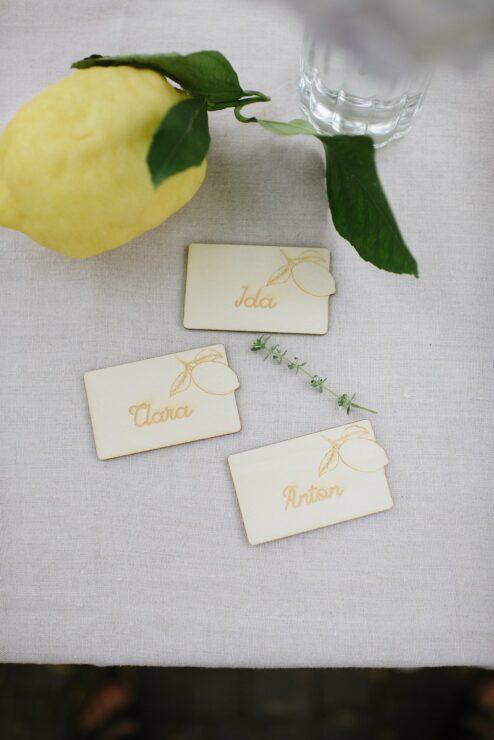 10 personalisierte Namensschildchen Zitrone