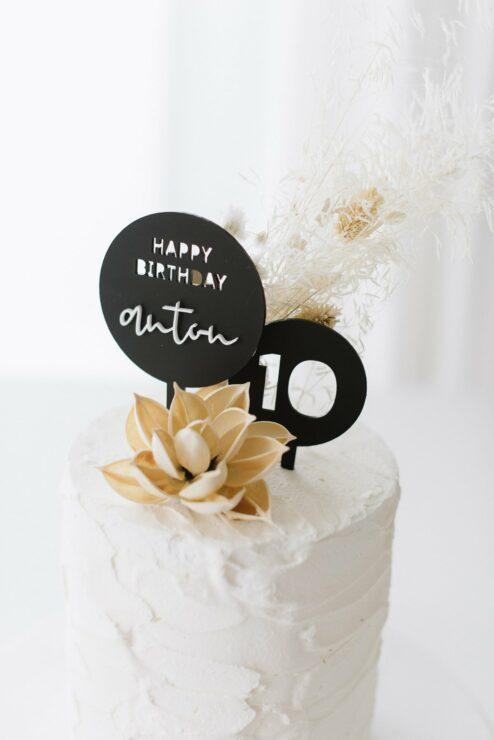 3D Cake Topper Happy Birthday 'Anton' schwarz