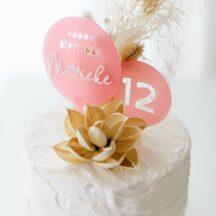 3D Cake Topper Happy Birthday 'Marieke' altrosa transparent
