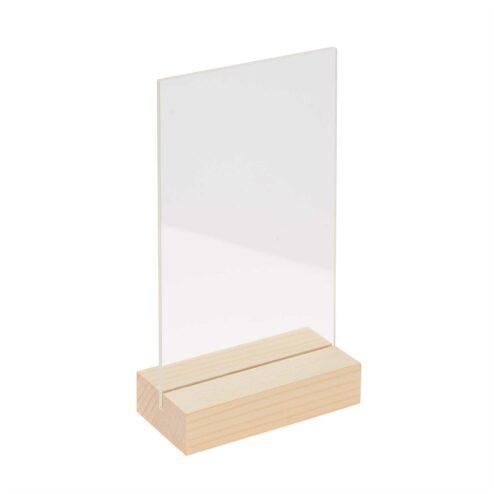 Holzaufsteller natur mit doppelter Acrylscheibe 13 x 18 cm