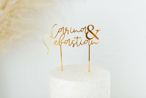 Cake Topper Hochzeit 'Namen mit &'