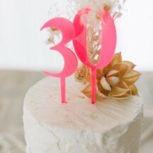 Cake Topper Zahl gross neon pink