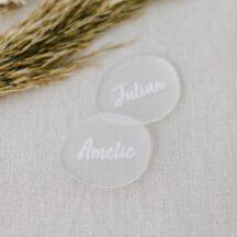 personalisierte Namensschilder Acryl oval