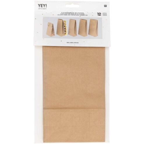 Papiertueten mit Boden und Stickern Kraftpapier (gross)