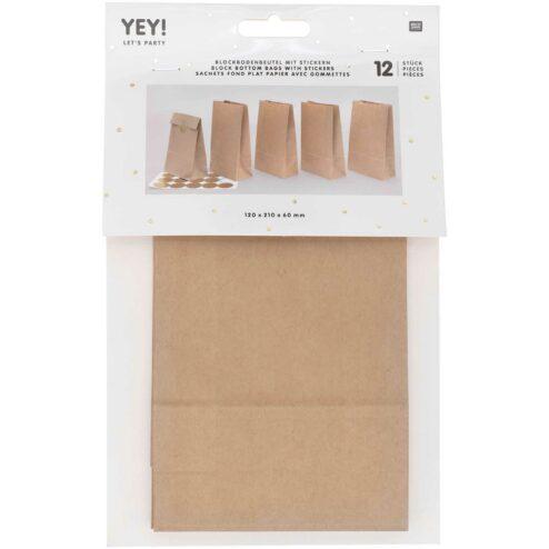 Papiertueten mit Boden und Stickern Kraftpapier (klein)