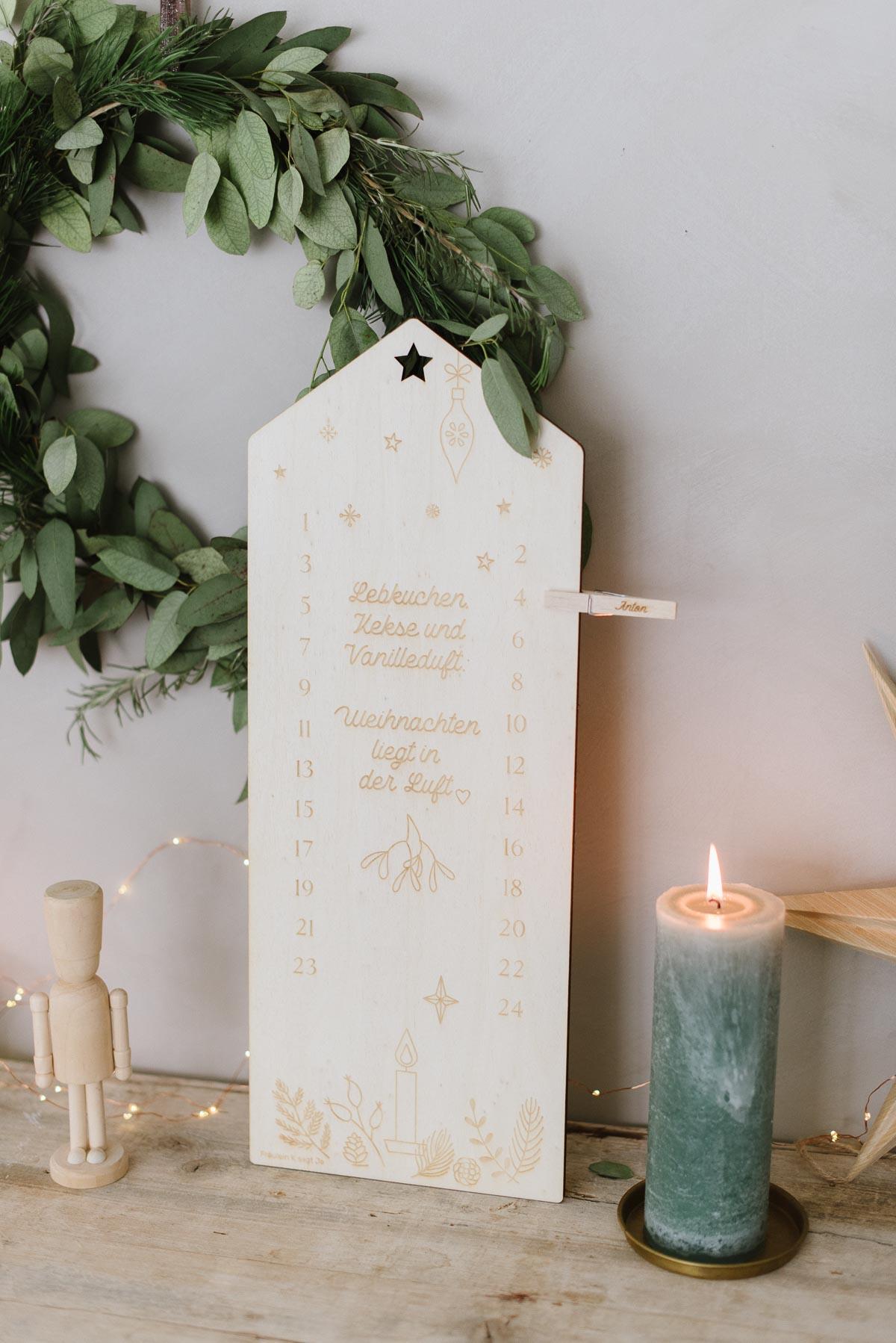 Countdown Adventskalender aus Holz