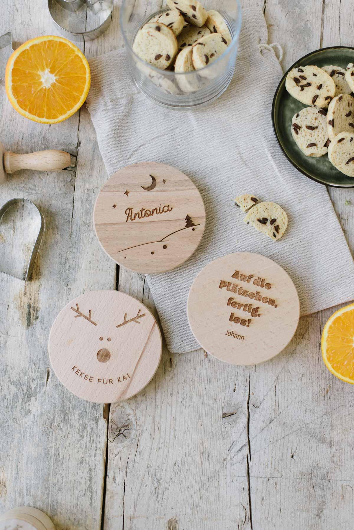 Holzdeckel mit Gravur für Vorratsgläser