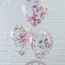 5 Ballons mit buntem Konfetti, für Helium oder Luft geeignet