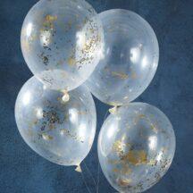 5 Latexballons mit goldenem Sternchen Konfetti