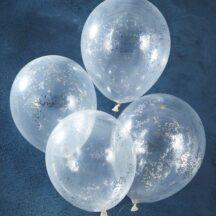 5 durchsichtige Latexballons, gefüllt mit silbernem Sternchen Konfetti