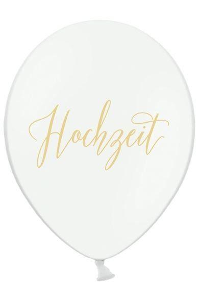 5 weiße Luftballons mit dem goldenen Aufdruck 'Hochzeit'