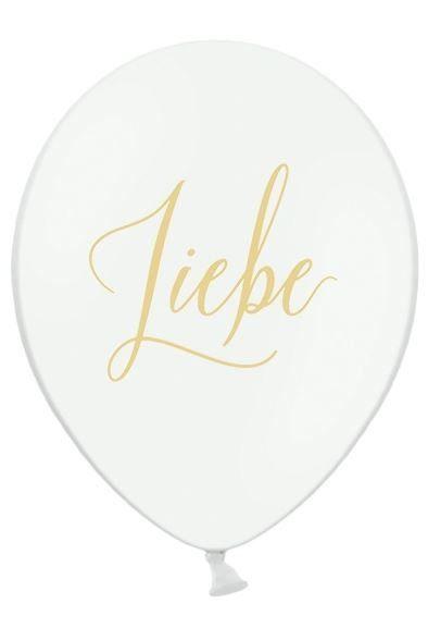 5 weiße Luftballons mit dem goldenen Aufdruck 'Liebe'