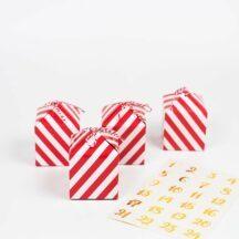 Adventskalender Boxen rot, weiß, gold