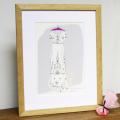 Individualisiertes, gezeichnete Brautkleid im Rahmen