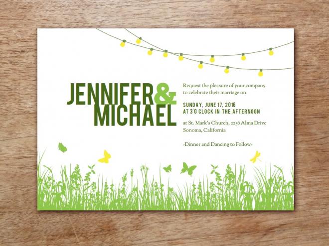 Vorlage für eine sommerliche Hochzeit im Garten - Selbst ausdrucken und gestalten
