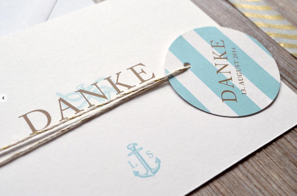 Maritime Dankeskarte für eine Hochzeit