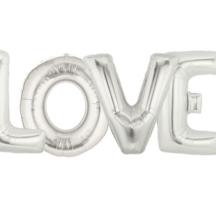 LOVE Ballon Silber gross