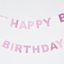 Happy Birthday Girlande Rosa Glitzer