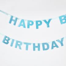 Happy Birthday Girlande blau Glitzer