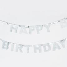 Happy Birthday Girlande Glitzer Silber