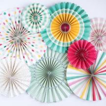 Faltrosetten Papierfächer Set Kindergeburtstag