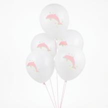 5 Ballons mit niedlichen Delfinen für den Kindergeburtstag
