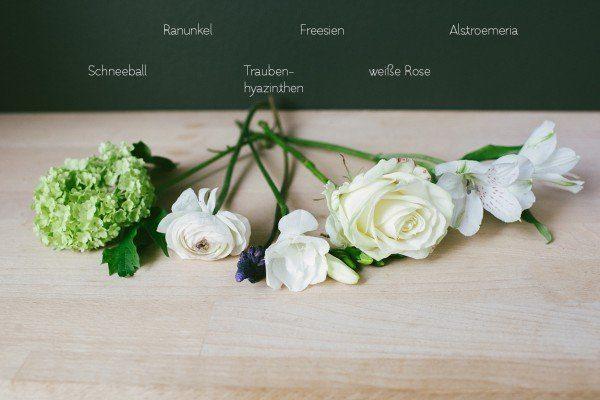Blumen für Brautstrauß im März